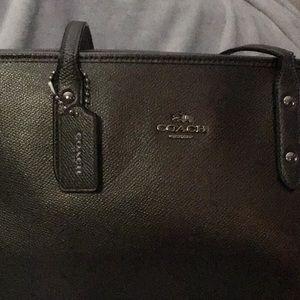 Coach Ava tote.  Gun metal leather.